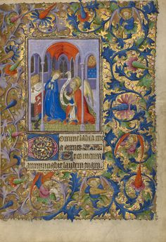 The Annunciation; Follower of the Boucicaut Master (French, active about 1390 - 1430); Paris, France; about 1410; Tempera colors, gold leaf, gold paint, and ink on parchment; Leaf: 19.1 x 14 cm (7 1/2 x 5 1/2 in.); Ms. Ludwig IX 5, fol. 27; J. Paul Getty Museum, Los Angeles, California