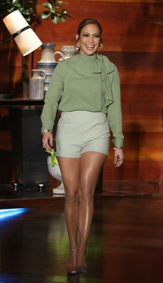 Splurge: Jennifer Lopez's The Ellen Degeneres Show Valentino Tailored Shorts and Gianvito Rossi Rosie Velvet Business Pumps