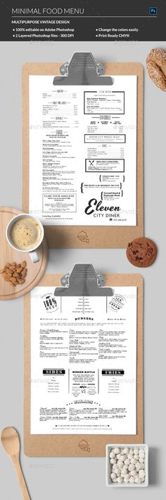 Food menu Design Idea - Food Menus Print Templates. Download here: http://graphicriver.net/item/food-menu/16918965?ref=yinkira