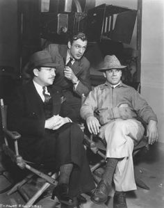 "Gary Cooper, and Director Frank Capra on the set of ""Mr. Deeds Goes to Town"" (1936)."