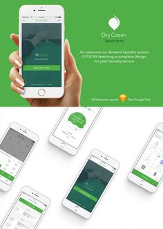 Dry Green is an awesome on demand laundry service UI/UX Kit featuring a complete design for your laundry service with 54 well-organized artboards. Extremelly flexible and easy to edit.    Free fon...