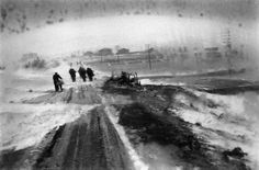 (c) Josef Koudelka / Magnum Photos ALBANIA. 1994. Snow blizzard on the road to Korce. There is something elemental about Koudelka's work -- almost familiar, as if seen before -- I suppose archetypal is the term I am looking for...