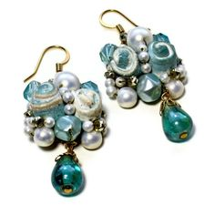 cool vintage  teal cluster clip-ons remade into dangle earrings, can add pearls for a wedding!