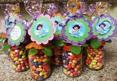 Fairy Dora Baby Food Jar Party Favors by Stinkystuffs on Etsy, $6.75