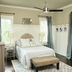 Neutral Bedroom Decorating Ideas. #Neutral #Bedroom **Need light drapes, bed clothes, and rug. Lamp