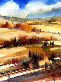 Alessandro Andreuccetti Campagna_ Toscana acquerelli su carta/watercolor on paper Watercolor Painting Techniques, Watercolor Projects, Watercolor Landscape Paintings, Watercolor Trees, Abstract Watercolor, Watercolor And Ink, Encaustic Painting, Watercolor Pencils, Gouache Painting