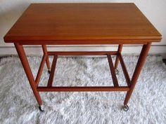 Danish Modern Denmark Teak Bar Cart flip Table