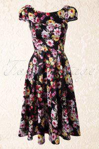 Hearts and Roses Black Floral Swing Dress 102 14 14735 20141220 015v