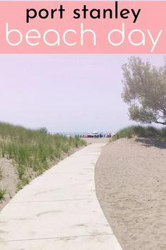 Port Stanley Beach Day ⋆ chic everywhere Port Stanley Ontario Beaches, Lake Erie, Southwestern Ontario Great Lakes Erie Beach, Lake Erie, Beach Town, Beach Day, Ontario Beaches, Lunch On The Beach, Visit Toronto, Ontario Travel, Lake Huron