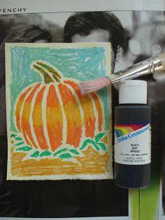 A Faithful Attempt Oil Pastel Resist Halloween Art ; For Teens thanksgiving art Fall Art Projects, School Art Projects, Drawing Projects, Halloween Kunst, 4th Grade Art, Fourth Grade, Third Grade, Oil Pastel Art, Oil Pastels