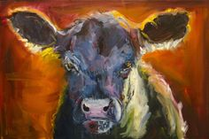 ANOTHER DAY IN COW PARADISE Cattle art by Diane Whitehead, painting by artist Diane Whitehead