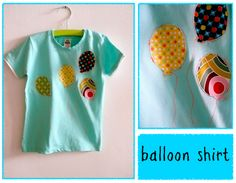 Cute DIY kid's balloon shirt. Maybe with # of balloons representing age and a number for the kid's birthday? That would be cute :)