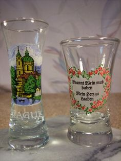 Two  European Shot Glasses unusual Sizes by ECCENTRICRON on Etsy