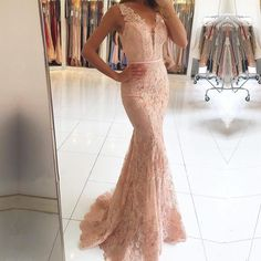 Gorgeous Pink Lace Mermaid Long Prom Dress