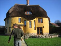English cob house - Kevin McCabe's house in Devon, England.  (****See Pins showing different angles of entire house alone.)