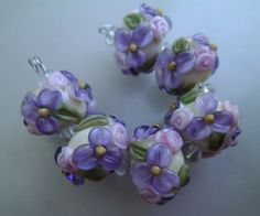 BLISS Lavender Wild Blossom and Rosebuds Lampwork Bead Set