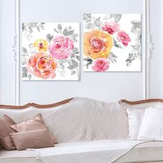 Create a stylish focal point in any room with this Artissimo Designs Rose Garden Splendor canvas wall art set. Simple Rose, Simple Art, Easy Art, Baby Canvas, Canvas Wall Art, Newspaper Crafts, Chinese Garden, Floral Theme, Wall Art Sets