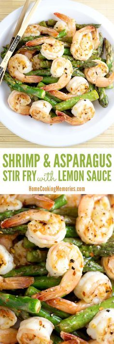 Shrimp and Asparagus Stir Fry with Lemon Sauce A quick & easy dinner idea! This Shrimp & Asparagus Stir Fry with Lemon Sauce recipe is made in one pan & full of great flavor from the shrimp, fresh asparagus, lemon, ginger, and garlic. Sauce Recipes, Fish Recipes, Seafood Recipes, Asian Recipes, New Recipes, Cooking Recipes, Favorite Recipes, Healthy Recipes, Spinach Recipes