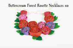 Hand painted - plaster wrap handmade rosette necklace for little girls...
