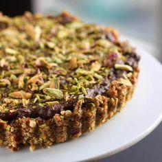 Vegan Pistachio Chocolate Cheesecake with Cashew Date Crust