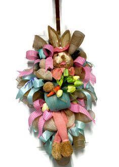 Bunny Wreath Spring Easter WreathSpring Wreath by LisasLaurels