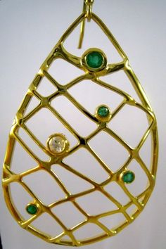 Emerald Net Earrings by Stargazer78 on Etsy, $350.00