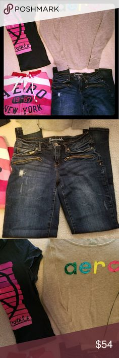 Womans Aeropostale Lot of 4. Womans Aeropostale Lot of 4 clothes.  Lot includes 1 Heavy Aeropostale zip up hoodie size XL,  1 Aeropostale tshirt size XL,  1 Aeropostale grey thermal top size XL, and 1 Pair of Aeropostale Lola Stretch Jeggings size 8. All clothes are. In Excellent Condition. More photos of All  Items can be viewed on site. Aeropostale Jeans