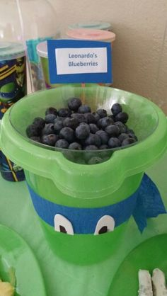 #Leonardos #blueberries (Sand buckets and clear bowls from the dollar tree party streamers white foam for eyes colored black part of eye on with marker glued everything on with hot glue gun)