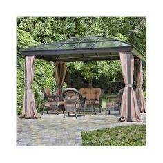Metal-Patio-Gazebo-Steel-Aluminum-Outdoor-Hard-Top-Pergola-Waterproof-Canopy-Net