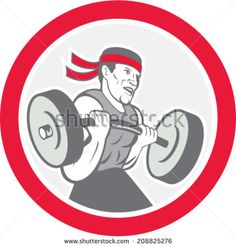 Illustration of a weightlifter lifting barbell weights set inside circle shape on isolated white background done in cartoon style.  - stock vector #weightlifter #cartoon #illustration