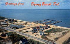 Chrome Postcard Aerial View Of Dewey Beach Delaware Dewey Beach Delaware, Fenwick Island, Sussex County, Beach T Shirts, Beach Town, Atlantic Ocean, Aerial View, Vintage Postcards, Coastal