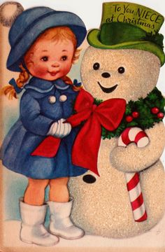 1950s To You Niece At Christmas Little Girl and Snowman Vintage Greetings Card (B1). $15.00, via Etsy.