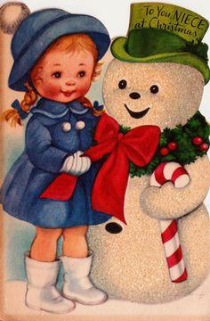 1950s Snowman Vintage Greetings Card