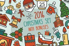 Best Christmas 25 Icons Set + Bonuses  CreativeWork247 - Fonts, Graphics, Themes, Tem...