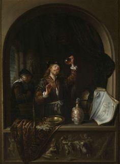 Jan Adriaensz. van Staveren   The Doctor, Jan Adriaensz. van Staveren, 1650 - 1669   De dokter. Staande in een venster bekijkt een dokter een flesje met pis. Voor hem staan op de vensterbank een metalen schaal, een sierkan en een medisch boek over de anatomie van de mens. Links achter de arts staat een vrouw met een emmer. Het venster is versierd met een reliëf met putti met een bok. Kopie naar het origineel van Dou in Wenen.