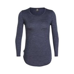 Women's Icebreaker Solace Long Sleeve Scoop Baselayer - Midnight Navy Heather Long Sleeve Shirts