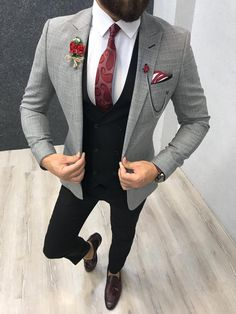 Collection: Spring – Summer 2019 Product: Slim-Fit Suit Color Code: Gray – Black Combination Size: Suit Material: viscose, polyester Machine Washable: No Fitting: Slim-fit Package Include: Jacket, Vest, Pants Only Gifts: Shirt, Chain and Neck Tie Blazer Outfits Men, Mens Fashion Blazer, Suit Fashion, Fashion 2020, Grey Slim Fit Suit, Slim Fit Tuxedo, Grey Suit Black Shirt, Light Grey Suit Men, Grey Suit Combinations