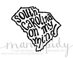 South Carolina On My Mind - White Background - 8x10 Illustrated Print by Mandipidy