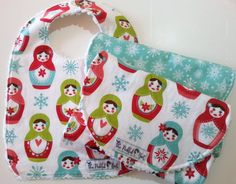 Bib and Burp Cloth Set  Baby Bibs Handmade  by PickledBeetBoutique