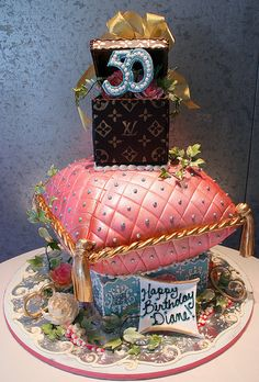 A Royal 50 Birthday Cake featuring Louis Vuitton!