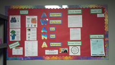 Awana bulletin board. I have a section for awards, schedules, about Awana, the Gospel Wheel, leader roles, and leader info. A great go-to place for any questions.