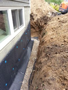 Trench drain driveway pinterest trench drain for Basement curtain drain