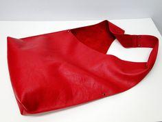 Shoulder Handbag Handmade In Red Leather