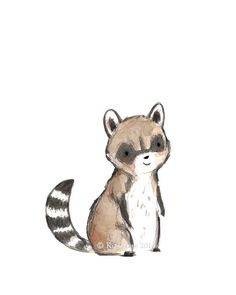 Children's Art  RACCOON  Archival Print by trafalgarssquare