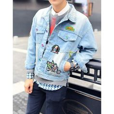 Stylish Shirt Collar Loose Fit Cartoon Print Badges Design Long Sleeve Denim Jacket For Men