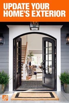Double Door - Front Doors - Exterior Doors - The Home Depot Dream Home Design, My Dream Home, House Design, House Front, My House, Casas Country, Exterior Front Doors, Entry Doors, Entryway