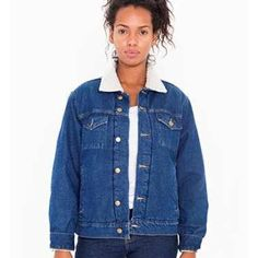 American apparel denim Sherpa jacket Classic denim jacket featuring a warm Sherpa interior(unisex) American Apparel Jackets & Coats Jean Jackets