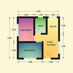 Planos de 2 Dormitorios – Constructora Sol del Plata Bungalows, Bar Chart, Diagram, Floor Plans, Architecture, Victoria, Tiny Home Designs, Home Made Simple, Dreams