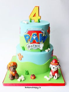Paw patrol cake by Elaine Boyle.ie (Party Top Paw Patrol) Bolo Do Paw Patrol, Paw Patrol Torte, Paw Patrol Birthday Cake, 4th Birthday Cakes, Birthday Ideas, Cake Disney, Torta Baby Shower, Character Cakes, Cakes For Boys