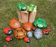 Painted stones made by Marianne Etienne